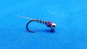 Purple Warrior Frenchie Jig Tungsten Bead Trout Fly Fishing Euro Nymphs Size 14
