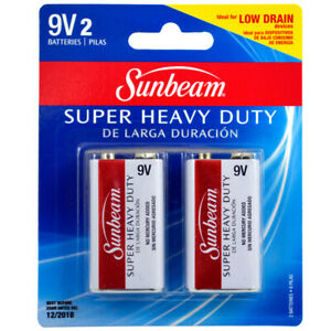 Sunbeam Super Heavy Duty 9V Batteries 2 Pack