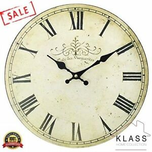 Large-VINTAGE-Shabby-Chic-Style-French-CAFE-wall-CLOCK-kitchen-clock-Cream-34cm