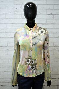 Camicia-Donna-JUST-CAVALLI-Taglia-S-Maglia-Manica-Lunga-Shirt-Woman-Floreale-Top