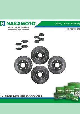 Nakamoto Performance Brake Rotor Drilled Slotted /& Ceramic Pad Front /& Rear Kit