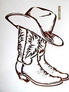 Image Is Loading Cowboy Boots And Hat Stencil Template Reusable 10