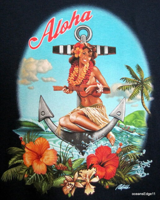 Aloha Anchor by Rick Rietveld,XLarge,Navy Blue Tee,Surfwear,Hula Girl,Fantasy