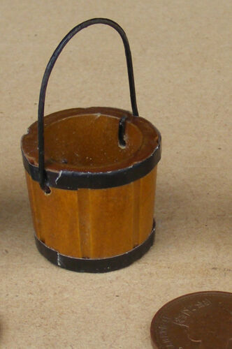 1:12 Scale Wooden Bucket Pail With Wire Handle Tumdee Dolls House Garden 1250