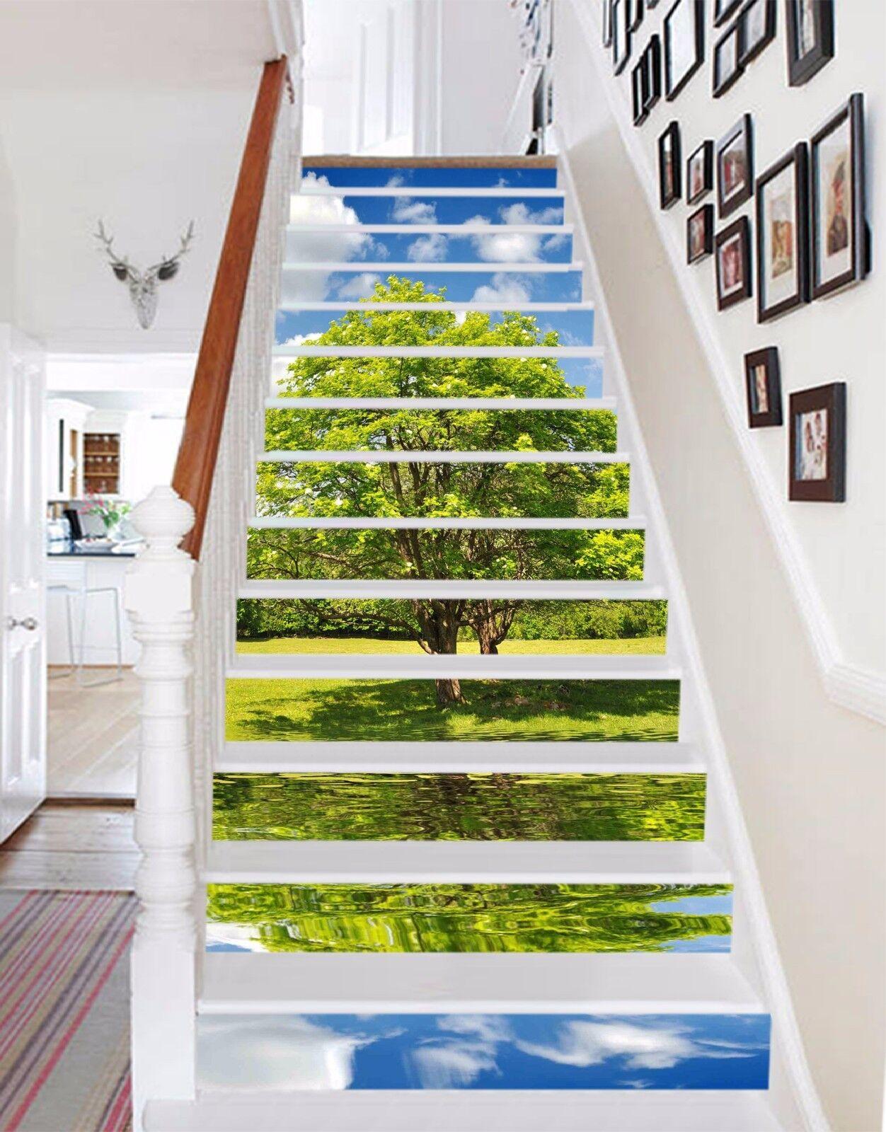 3D Green tree 367 Stair Risers Decoration Photo Mural Vinyl Decal Wallpaper UK