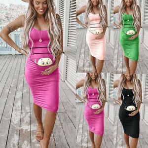 Women-Pregnancy-Maternity-Above-Knee-Cartoon-Bodycon-Vest-Sleeveless-Mini-Dress