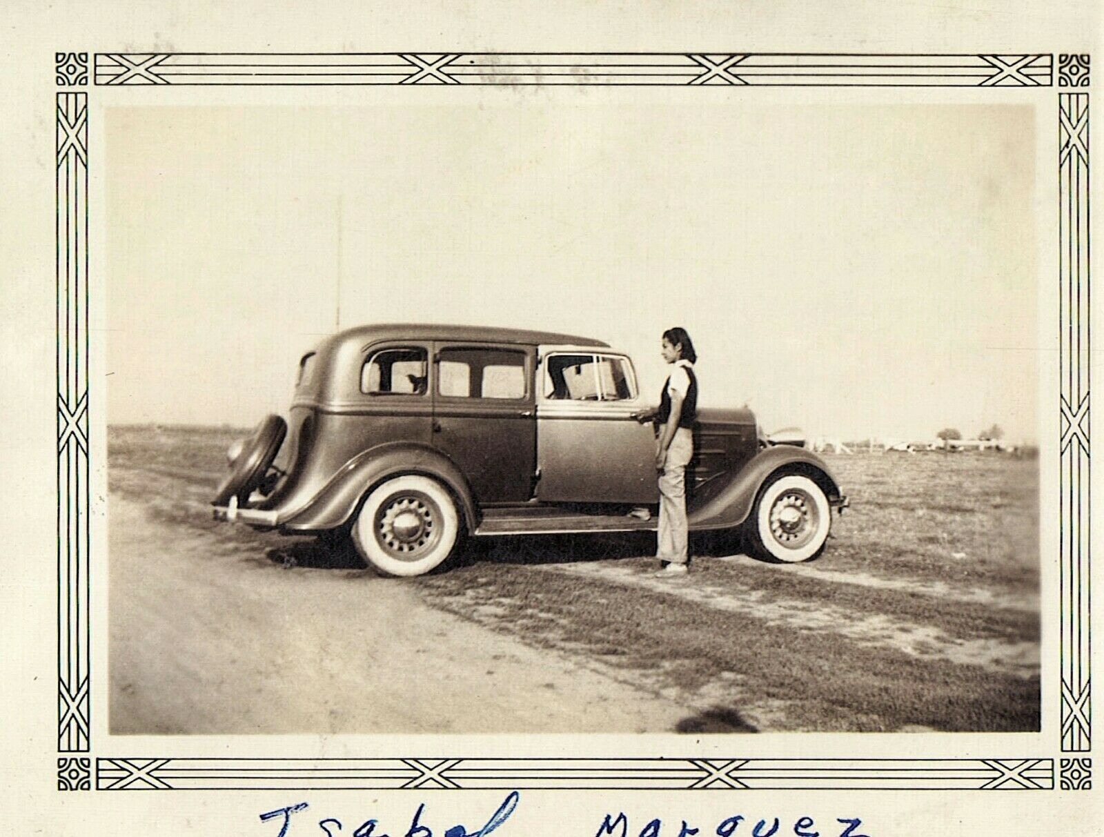 Vintage Old Photo of Woman in Field with 1934 DODGE Car Automobile ...