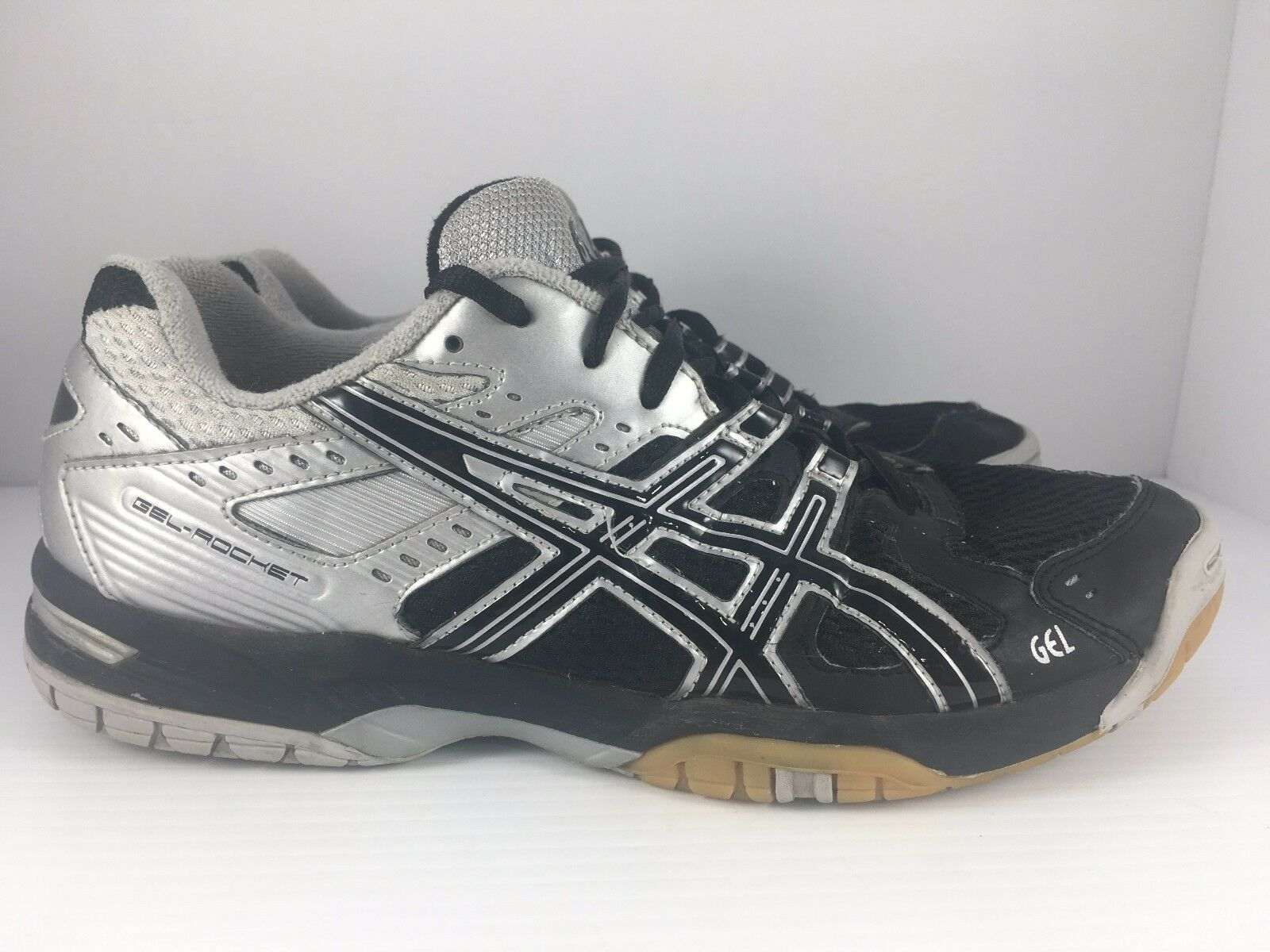 ASICS Gel Rocket B207N Men US 7.5 Black + Silver Athletic Volleyball shoes