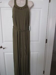 Dept Maxi Jurk.Nwt Dept 222 Women S Long Green Maxi Dress W Belt Sz Pm Msrp