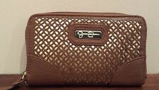 """Jessica Simpson Wallet Clutch Cell Phone """"Leslie"""" BROWN &  GOLD NEW W/O TAG"""