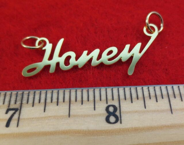 14 KT Gold EP Honey Personalized Name Plate Word Charm Pendant 6159