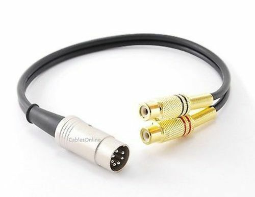 CablesOnline 1ft 7-Pin Din Male to 2RCA Gold Female Audio Cable