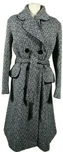 Edina-Ronay-White-Black-Herringbone-Tweed-Wool-Blend-Long-Belted-Coat-Size-14