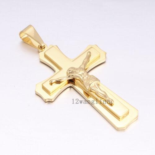 Hommes Chaîne Croix En Or Jésus Byzantine Acier Inoxydable Collier Pendentif Hot Cadeau