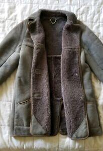 peau mouton manteau véritable anglaise en de de grise mouton anglaise en Manteau M peau manteau aCqxwgxZ