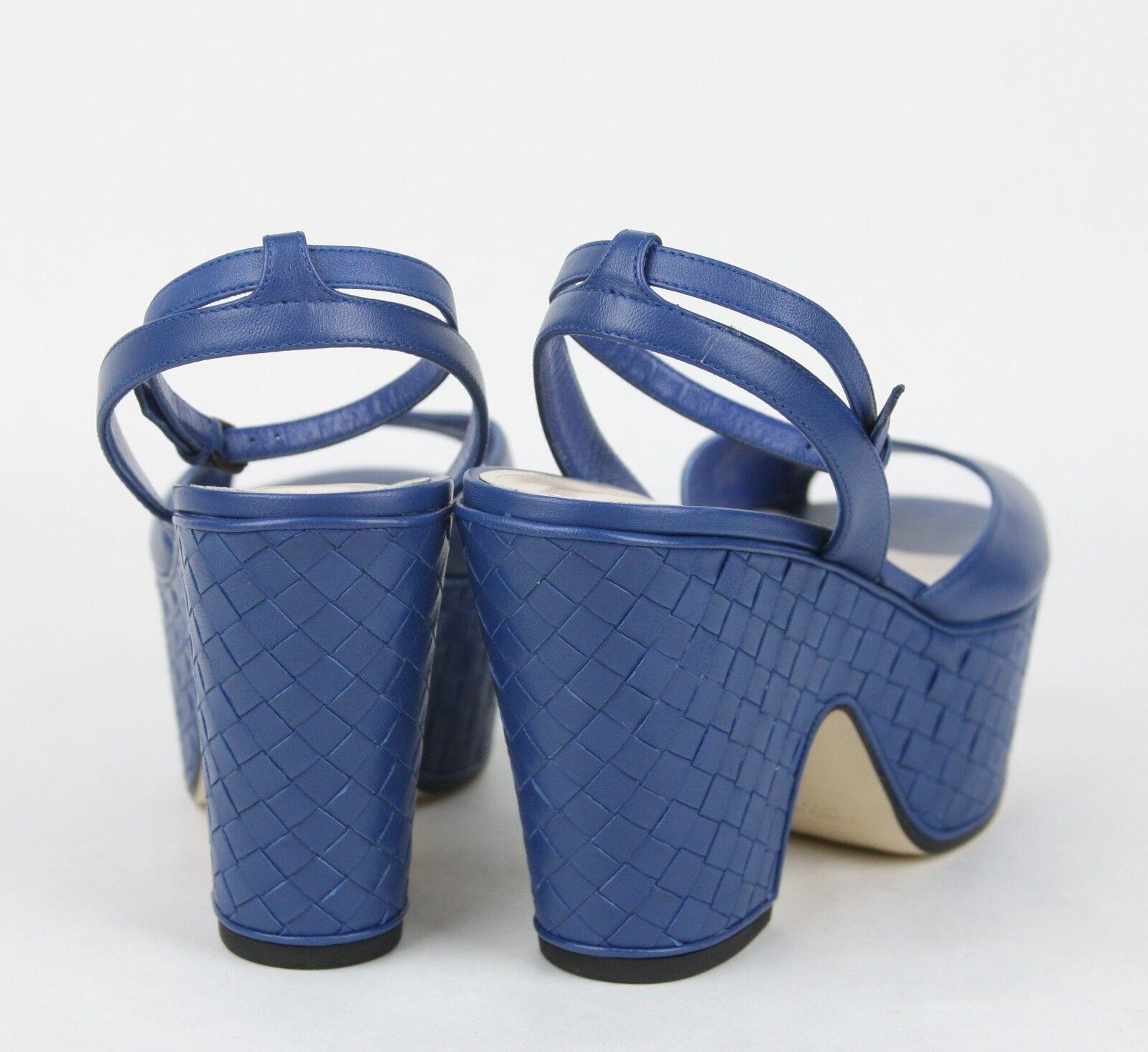 640 Nuevo Bottega Veneta Cuero Cosido Cuero Veneta Plataforma Cuña Sandalia Azul 338279 4217 2ea40e