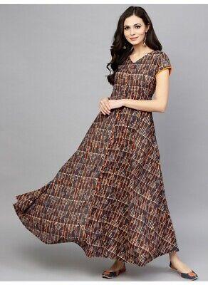 Women indian kurta kurti Long Maxi Dress top tees bottom Floral pakistani-KIA29