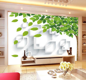 3D Green Deciduous Leaves Paper Wall Print Wall Decal Wall Deco Indoor Murals