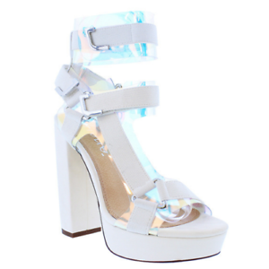80d6f7670bc Liliana GLAMROCK-2 White Clear Elastic Strappy Platform Open Toe ...