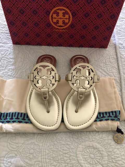 Tory Burch MILLER Spark Gold Leather Sandal Women Size 4.5 New in Box