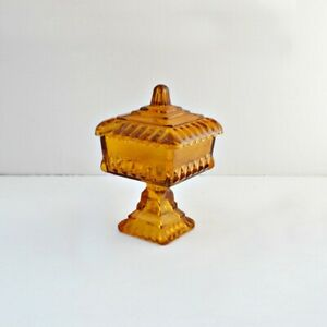 Vintage-Square-Amber-Glass-Footed-Candy-Dish-with-Lid-Compote-wedding-bowl