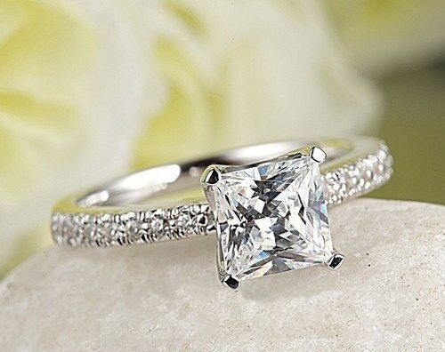 14K White gold Over Excellent Princess Cut 1.50Ct Diamond Engagement Ring