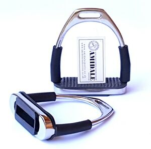 AMIDALE-FLEXI-SAFETY-STIRRUPS-HORSE-RIDING-BENDY-IRONS-S-STEEL-BLACK-TREADS-BNW