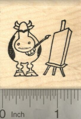 Halloween Skeleton Grinning Cow Rubber Stamp D22408 WM