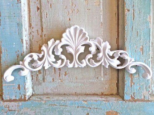 SHABBY & CHIC FURNITURE APPLIQUE SHELL CREST FLORAL  * EBAY'S LARGEST WHOLESALE