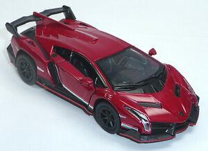 Lamborghini-Veneno-rojo-oscuro-aprox-1-36-modelo-de-coleccionista-12-5cm-mercancia-nueva-de-Kinsmart