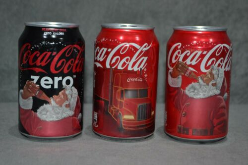 Full Set Of Coca Cola 3x Aluminium Can Santa Christmas Truck Zero Poland Edition