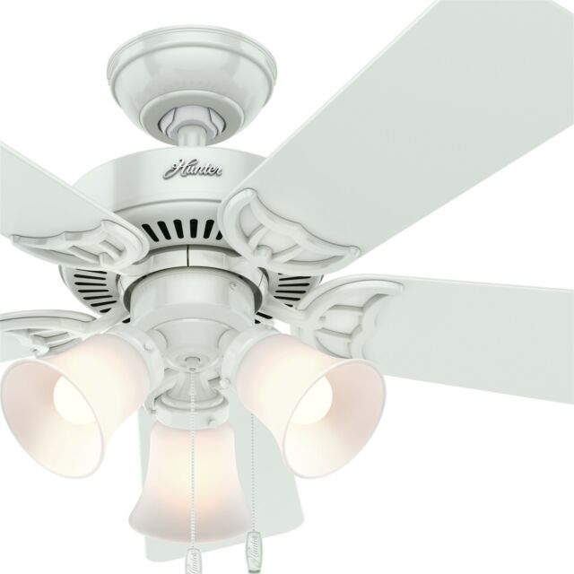 """Hunter 52/"""" Snow White Ceiling Fan with Five Snow White Blades and a Light Kit"""