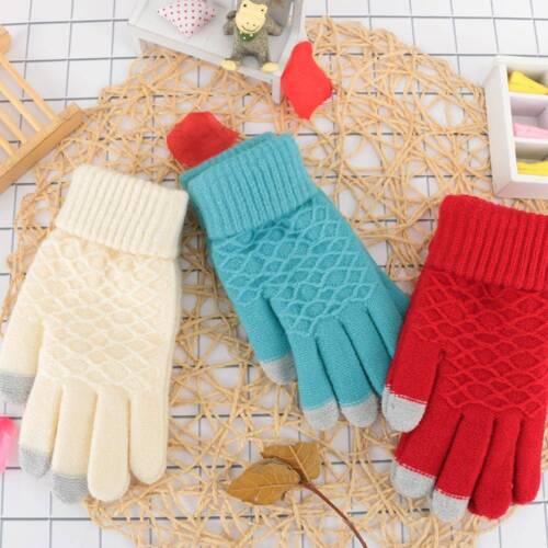Winter Autumn Women Knitted Gloves Touch Screen Thicken Warm Wool Gloves
