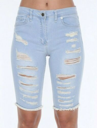 KNEE BERMUDA JEANS SHORTS DENIM MID WAIST RIPPED DISTRESSED CYCLING HOTPANTS M