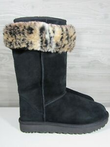 97f4db641021 UGG Australia Women s Classic Tall II Black Boots Animal Print ...