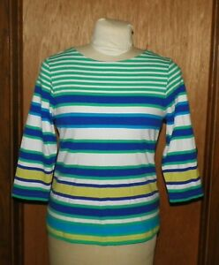 Ruby-Rd-Favorites-Striped-Shirt-3-4-Length-Sleeves-Sz-M-Blue-Green-Yellow-White