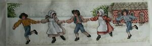 Pioneer-Children-Playing-Brick-School-House-Cross-Stitch-Completed-Finished