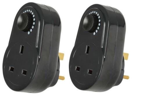 2 PACK Black Plug In Adjustable Dimmer Switch Home Lamp Light Intensity Control