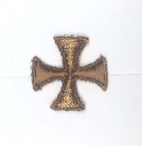 Vintage-Cuadrado-Maltes-Cruz-1-034-para-Coser-Marron-C-Emblema-Parche-12-Piezas