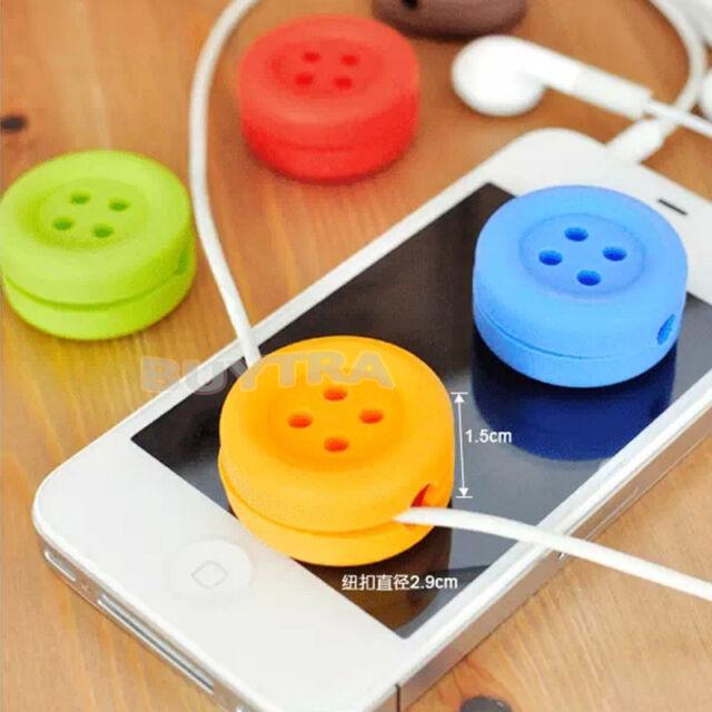 Button Cable Cord Wire Organizer Bobbin Winder Wrap For Headphone Earphone BBUS