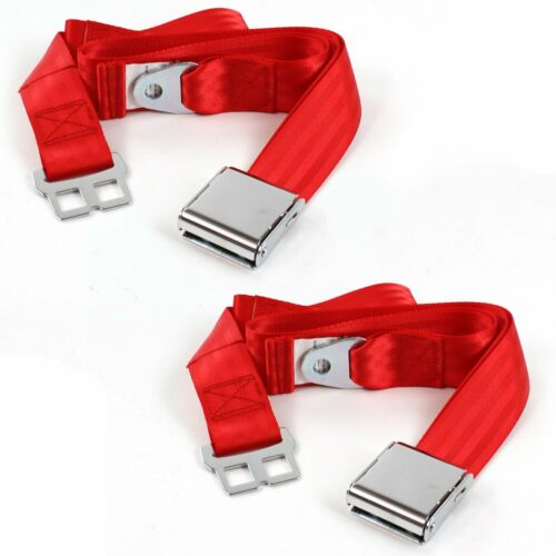 Ford GT40 1964-1969 Airplane 2pt Red Lap Bucket Seat Belt Kit 2 Belts truck