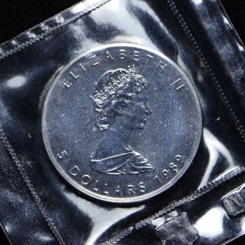 otb331 1989 Canada 1 oz Silver Maple Leaf $5 Coin .9999 Fine Silver