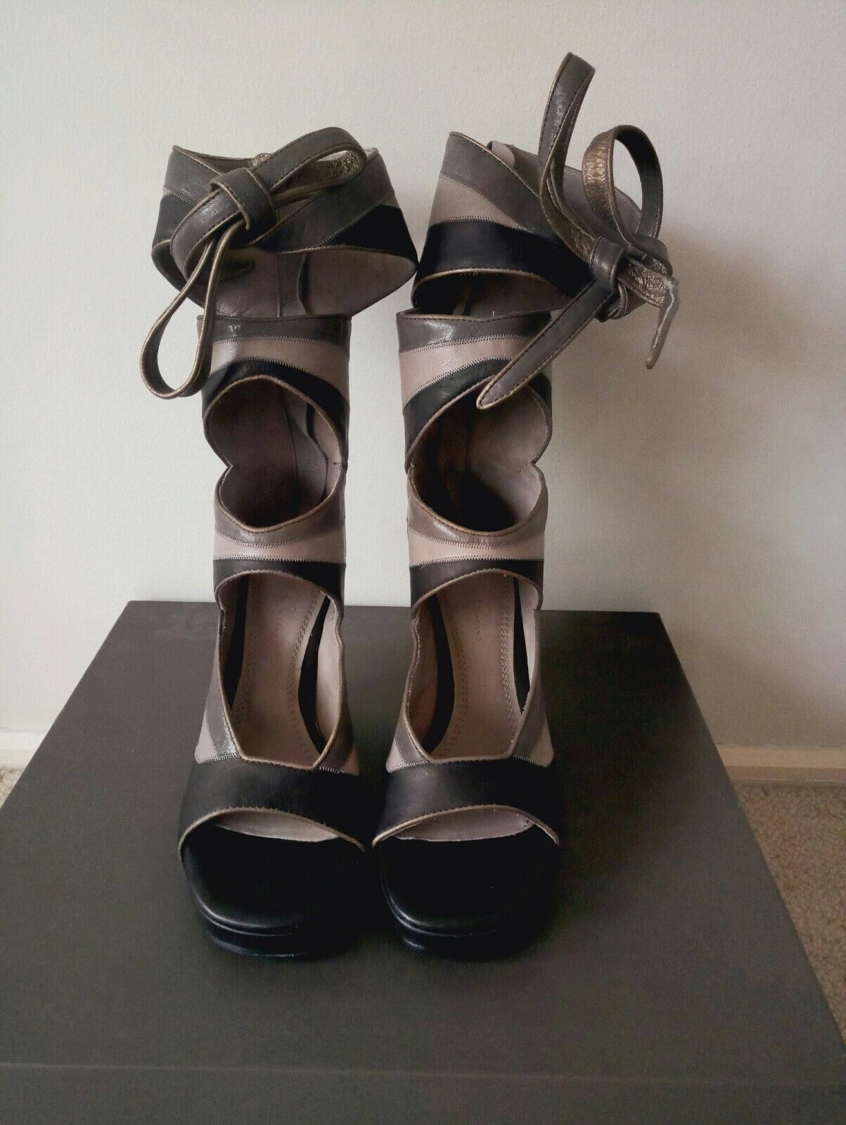 Rick owens cutout leather wedge boots New New New in box IT36.5 16f46d