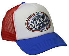 Speed Hot Rod Trucker Mesh Cap rot blau weiß V8 US Car Old School Bike Mütze
