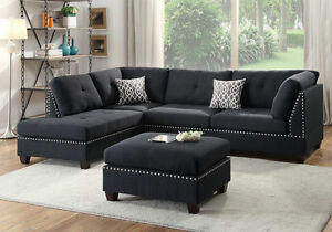 Image Is Loading Black Polyfiber Sectional Sofa Corner Couch Reversible Chaise
