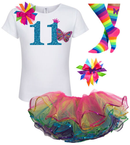 Bubblegum Divas Girl 11th Birthday Shirt Butterfly Eleven Outfit Personalized 11