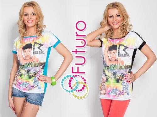 Womens Top RIHANNA Print Boat Neck Short Sleeve UK Stock T-Shirt Sizes 8-12 FN01