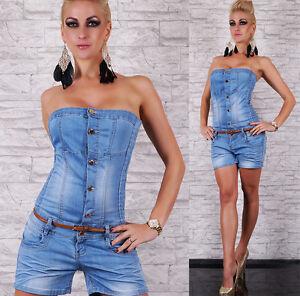 Women-039-s-Jeans-Jumpsuit-HOT-pants-Play-suit-Denim-Overall-Inc-Belt-Size-8-14-HOT