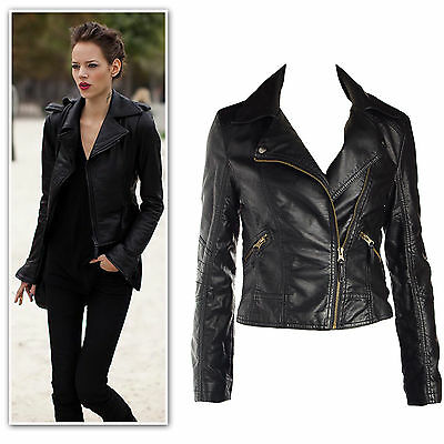 New Synthetic Pu leather epaulette biker jacket