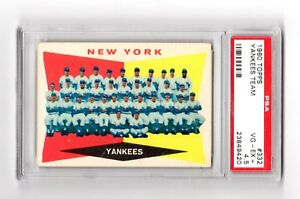 1960-Topps-NY-Yankees-Team-with-Mickey-Mantle-Maris-332-PSA-4-5-VG-Ex